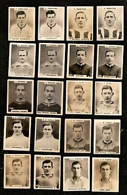 20 X 1922 GODFREY PHILLIPS PINNACE FOOTBALLER CIGARETTE CARDS 10 X VARIETY PAIRS • 6.05£