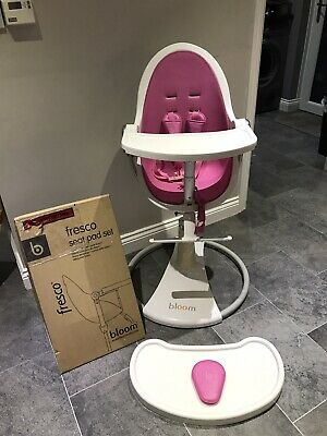Bloom Fresco Highchair With Accessories Pink & White Liners Chelmsford Essex • 130£