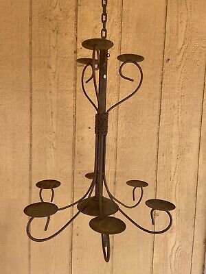 Vintage Large Rustic Gothic Onate Wrought Iron 9 Candle Ceiling Mount Chandelier • 92.81£