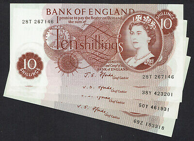 🌟 GB FFORDE 10s TEN SHILLINGS NOTE B309 BANKNOTES - 4x BETTER GRADE NOTES • 4.10£