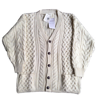 Beautiful Traditional Aran 100% Wool Cream Cable Knit Pocket Button Cardigan L • 39.99£