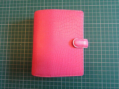 Filofax Pocket Personal Organiser In Pink Leather With Inserts • 15.99£
