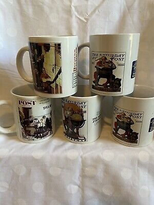 $ CDN34.64 • Buy Lot Of 5 Norman Rockwell Saturday Evening Post Mugs, Mostly Christmas