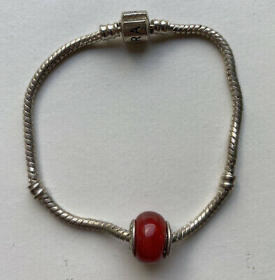 Pandora Charm Braclet Clasp 18 With Red Charm • 10£