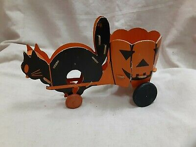 $ CDN50.60 • Buy Vintage 1920's Fibro-Toy Of Ohio Halloween Black Cat & Jack-O-Lantern Wagon