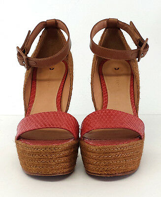 Anthropologie Leifsdottir Red Snakeskin Leather Curved Wedges Sz 38 • 93.23£