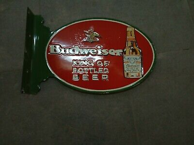 $ CDN1.28 • Buy Porcelain Budweiser Beer Enamel Sign 17.5 X 13 Inches Double Sided