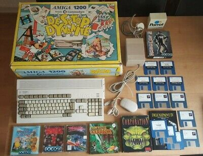Commodore Amiga 1200 Boxed Bundle Recapped With 80mb Hard Drive - 99p Start • 230£