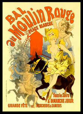 Bal Au Moulin Rouge Retro Vintage Cabaret 1889 Print Poster Wall Picture A4 + • 4.99£