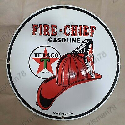 $ CDN161.99 • Buy Texaco Fire-chief Gasoline Vintage Porcelain Sign 30 Inches Round