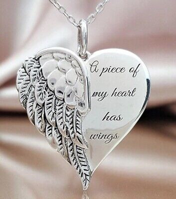 £5.49 • Buy Silver Angel Necklace A Piece Of My Heart Has Wings Pendant Mum Sister Dad Love