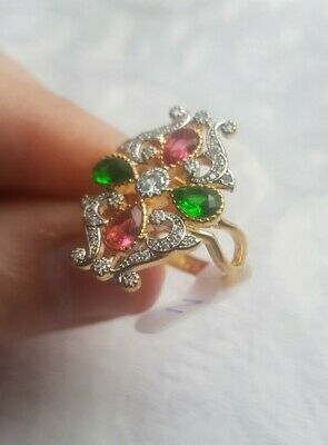 Womans Size R. Diamond, Ruby, Emerald 14K Gold Plated Ring • 9.98£