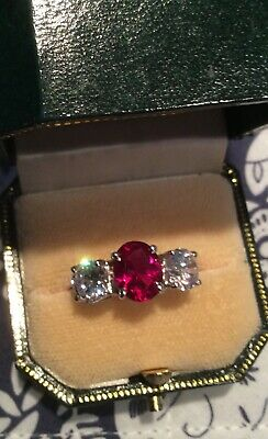 2.3ct Oval Cut Pink Ruby Diamond Trilogy Ring 14k Dual Gold Over Round Accents • 68£