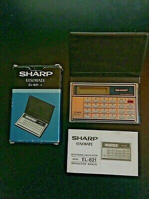 Vintage Sharp ELSI MATE EL-821 Credit Card Sized Pocket Calculator • 12£
