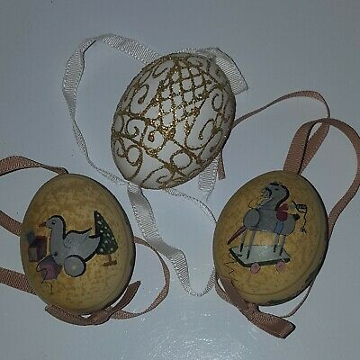 $ CDN8.82 • Buy Lot Of 3 Vintage Hand Painted Real Egg Christmas Tree Ornaments Made In Austria