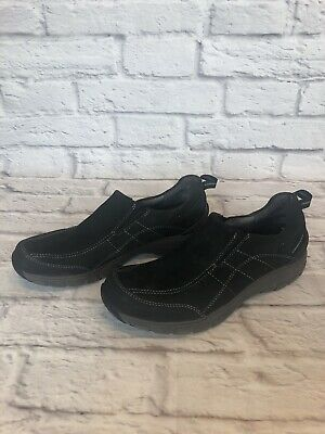 CLARKS Wave Walk Womens Size 9 N Black Leather Slip On Waterproof Shoes I1i • 17.68£