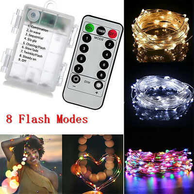 Battery 100 LED Micro Rice Wire String Fairy Lights Xmas Party W/ Remote Control • 9.79£