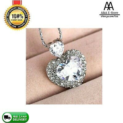 £3.52 • Buy 925 Sterling Silver Plated Heart Necklace Crystal Swarovski Element Pendant Gift