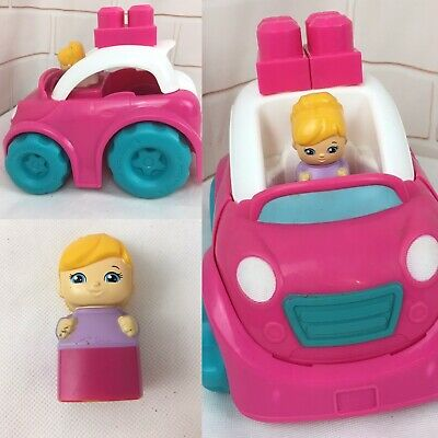 Fisher Price Mega Bloks Pink Convertible + Driver Plastic First Builders  • 10£