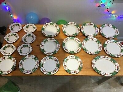 Vintage Bone China Floral Sampson Bridgwood 19 Piece Dining Set - Job Lot • 95£