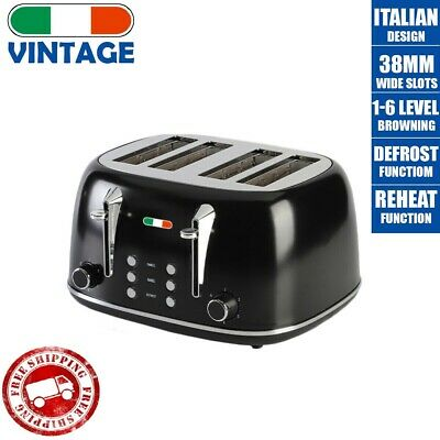 AU134 • Buy Vintage Electric 4 Slice Toaster Black Stainless Steel 1650W Not Delonghi