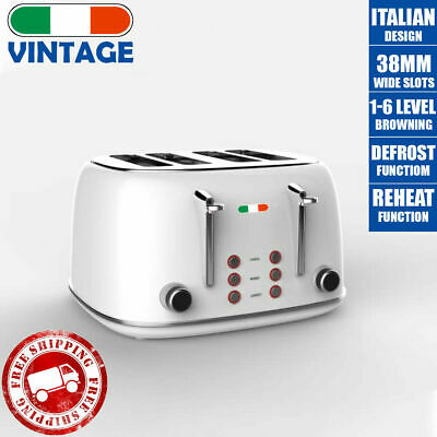 AU134 • Buy Vintage Electric 4 Slice Toaster White Stainless Steel 1650W Not Delonghi