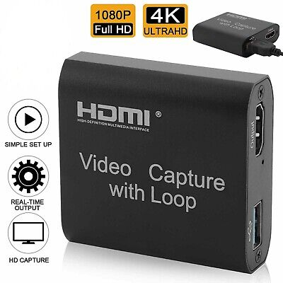 4K HD 1080P 60fps HDMI Video Capture Card USB 2.0 Mic Game Record Live Streaming • 12.99£