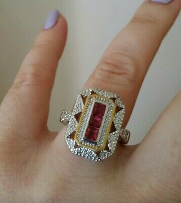 Womans Size N 1/2. Red Ruby 925 Silver Art Deco Ring • 4.99£