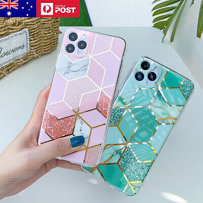 AU7.95 • Buy Marble Case For IPhone 11/12 Pro Max Mini Shockproof Bling Glitter Hard Cover