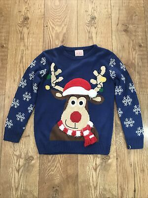 💙 Boys Rudolph Reindeer Christmas Jumper 9-10 Years 💙 • 0.50£