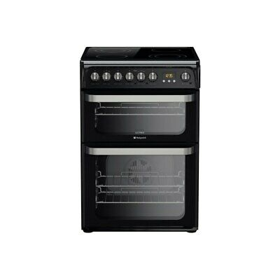 Hotpoint HUE61K Ultima 60cm Double Oven Electric Cooker With Ceramic Hob - Black • 399£