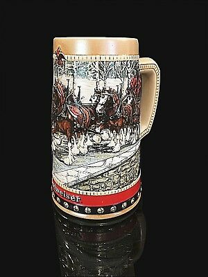 $ CDN24.61 • Buy Budweiser Holiday Clydesdales Beer Stein 1988 Collector's Series Cup Mug