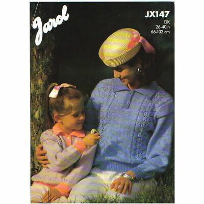 Knitting Pattern -  Jarol JX147 - Mother & Daughter DK Sweater 26-40  - UNUSED • 2.60£