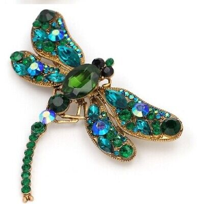 £6.19 • Buy Large Dragonfly Crystal Brooch Vintage Style Insect Diamante Green Broach Pin UK