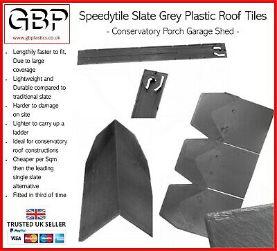 Speedytile Slate Grey Plastic Roof Tiles 3 In 1 - Conservatory Porch Garage Shed • 8.11£