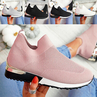 $ CDN25.89 • Buy Womens Ladies Sport Slip On Trainers Knit Sneakers Pull On Women Shoes Size Uk