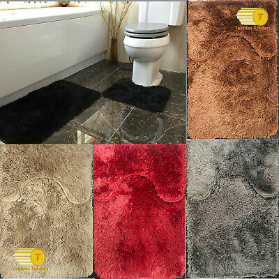 2pc Luxury Soft Non-Slip Bathroom Plush Shaggy Bath Mat Set & Pedestal Rug Set • 7.99£