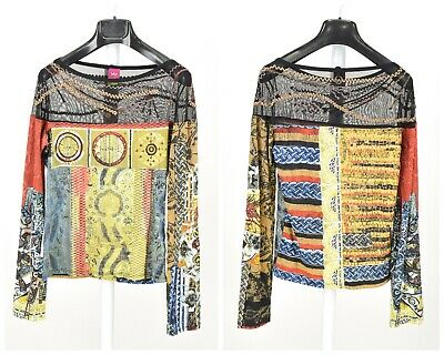 AU89.09 • Buy Womens Save The Queen Long Sleeve Mesh Top Multicolor Quirky Style Size L