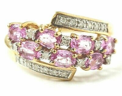 $ CDN259.67 • Buy Diamond Ring 9ct Gold Cluster Pink Stone QVC 2.7g Size O Hallmarked 11mm Wide
