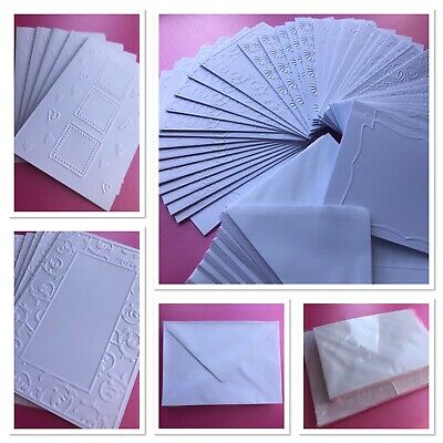 Embossed Blank Cards And Envelopes Craft Bundle Job Lot Card Making Clearout • 6.95£