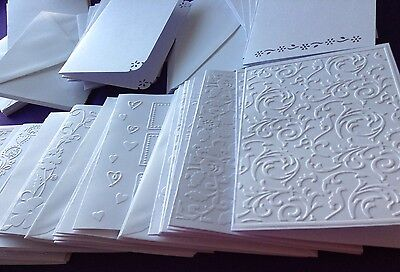 65 Embossed Blank Cards And Envelopes Craft Card Making Bundle ClearOut Job Lot • 10.50£