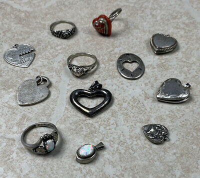 $ CDN13.59 • Buy Lot Of 12 Sterling Silver Authentic Small Pendants And Rings Total Weight 1.4 Oz