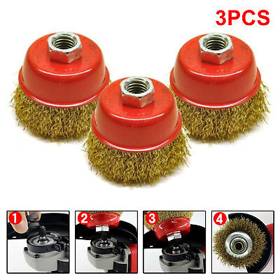 3X Rotary Steel Wire Brush Crimp Bevel Wheel Cup Twist Angle Grinder M14 65mm. • 5.79£