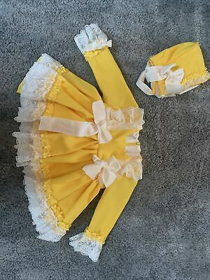 Yellow Baby Girl Spanish Style Dress 6 Months With Matching Bonnet And Bloomers • 19.99£