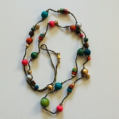 Long Wooden Bead Necklace • 3.99£
