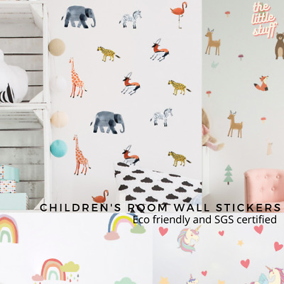 £8.99 • Buy Children's Bedroom Removable Wall Stickers Safari Jungle Forrest Animal Rainbow