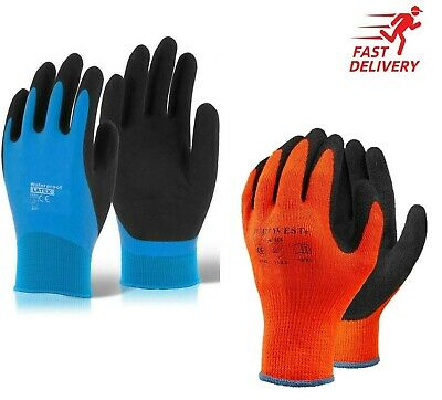 Thermal Insulated Waterproof Winter Work Gloves Fully Latex Coated Cold Safety • 8.49£