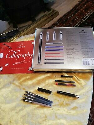 PARKER VECTOR Black Fountain/ Calligraphy 4 NIB Set, With Hinged Storage Tin • 10£