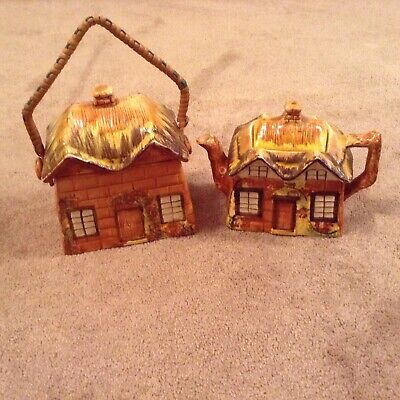 Price Bros Cottage Ware Ye Old Cottage Biscuit Barrel And Teapot • 2.50£
