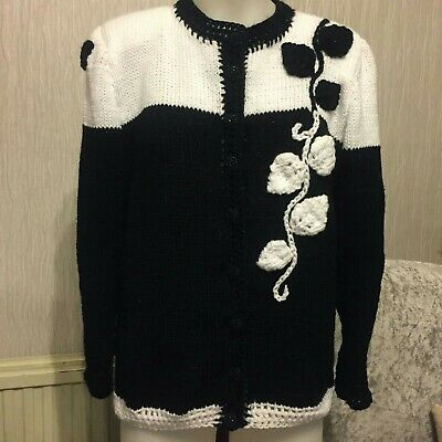 Ladies Brand New Hand Knitted Cardigan In White And Black Size 14/16 • 25£